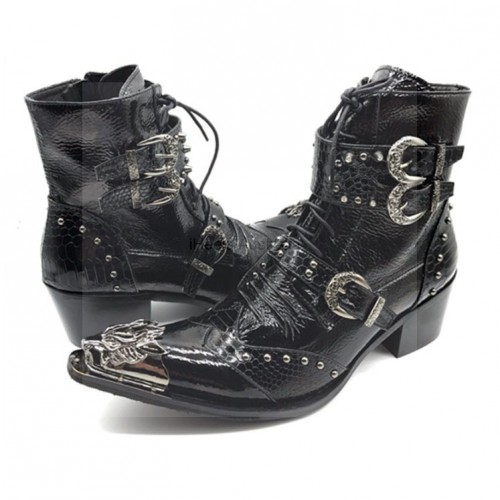 iHeels Men Gothic Boots Vampire Costumes Shoes Black Leather