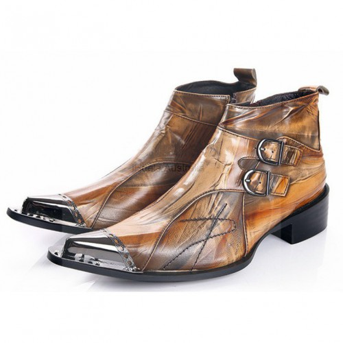iHeels Men Gothic Boots Vampire Costumes Shoes Brown Leather